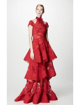 Nwt Marchesa Couture Red Tiered Lace Evening Gown by Marchesa