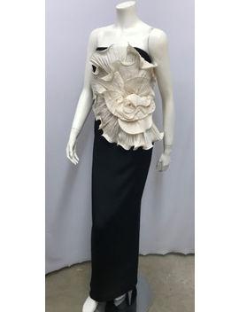 Marchesa Notte Strapless Long Dress Jumbo 3 D Silk Ivory Flower Silk Stretch 12 by Marchesa Notte