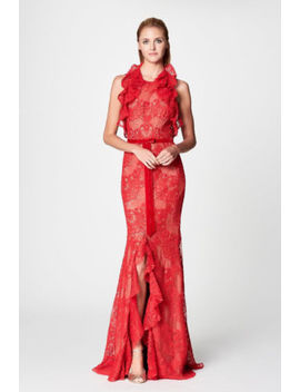Nwt Marchesa Notte Red Sleeveless Double Ruffle Lace Gown by Marchesa Notte