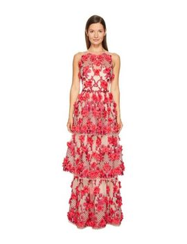 $1295 New Marchesa Notte 3 D Embroidery Gown Two Tiered Pink On Nude Dress 10 12 by Marchesa Notte