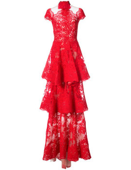 Tiered Lace Gown by Marchesa