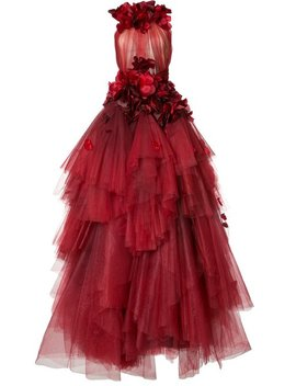 Rose Embellished Tulle Tiered Gown by Marchesa