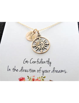 Compass Necklace Gold College Graduation Gift High School Graduation Gift For Graduate Travel Necklace Friendship Necklace Personalized by Etsy