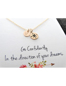 Gold Compass Necklace Compass Necklace Initial Necklace Gold Compass Necklace Graduation Gift Friendship Necklace Best Friend Gift by Etsy