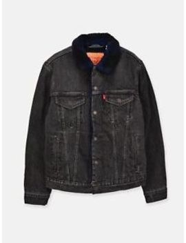 Levi's Type 3 Faux Shearling Lined Ocean Fire Trucker Jacket by Levi's
