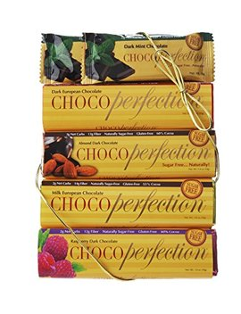 Choco Perfection 6 Bar Box, Variety Package, 2 Dark Mint, 1 Dark, 1 Milk, 1 Dark Raspberry And 1 Dark Almond Bar by Choco Perfection