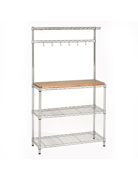 Seville Ultra Zinc She16369 Z Silver Metal And Brown Rubberwood Baker's Workstation by Seville Classics
