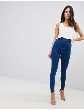 Asos Rivington High Waisted Jeggings In Flat Rica Blue Wash by Asos Collection