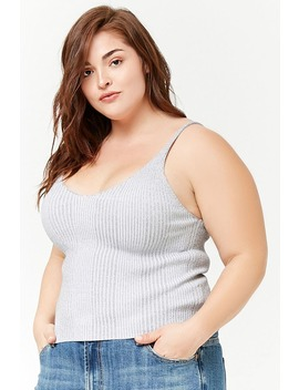 Plus Size Metallic Ribbed Knit Top by F21 Contemporary