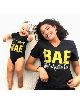 Bae Best Auntie Ever, I Love Bae, Matching Aunt/Niece Shirts, Aunt Life, Niece Life, Sparkle, Trendy, Funny Vneck Loose Fit, Matching Baby. by Etsy