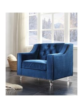Chic Home Berry Velvet Round Acrylic Feet Club Chair, Blue by Chic Home
