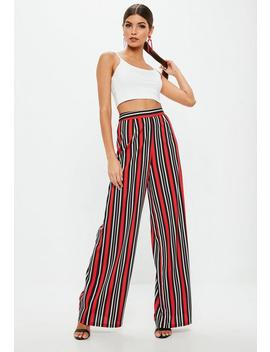 Red Striped Wide Leg Pants by Missguided