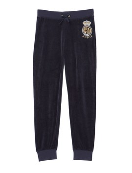 Velour Scottie Crest Zuma Pant For Girls by Juicy Couture