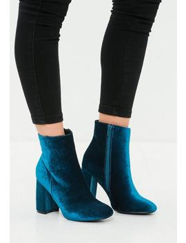 Blue Velvet Round Toe Ankle Boots by Missguided
