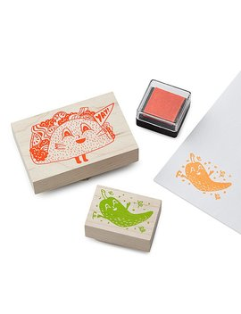 Taco &Amp; Hot Pepper Stamp Kit by Christine Schmidt