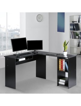 Langria Modern L Shaped Computer Desk Corner Pc Latop Study Table Workstation Home Office With Mute Sliding Keyboard Tray And 2 Bookshelf Corner Table, Black by Langria
