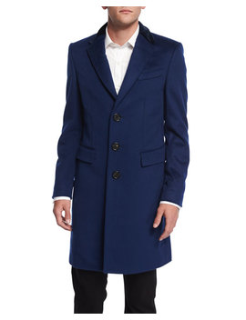 Crombie Cashmere Blend Coat With Velvet Collar, Navy by Burberry