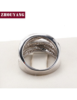 Zhouyang Luxurious Hollowed Out Cubic Zirconia Silver Color Fashion Jewelry Ring Wedding Engagement For Women Wholesale Dd017 by Ali Express