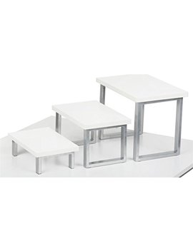 Display Risers For Tabletop Use, Set Of 3 Fixtures   White by Displays2go