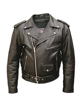 Men's Basic Premium Buffalo Leather Jacket W/ 6 Pockets And Quilted Lining Al 2010 32 by Allstate Leather