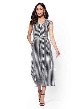 Stripe V Neck Wide Leg Jumpsuit by New York & Company
