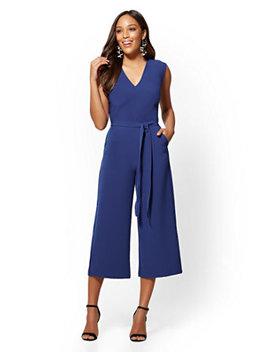 V Neck Wide Leg Jumpsuit by New York & Company
