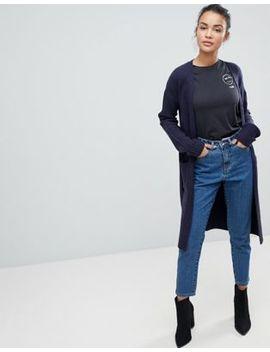 Fashion Union Longline Cardigan With Rib Knit Sleeves by Fashion Union