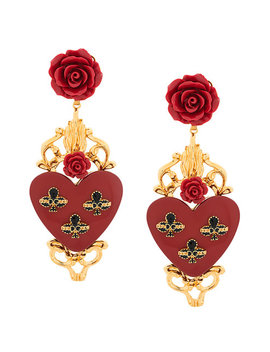 Rose And Heart Drop Earrings by Dolce & Gabbana