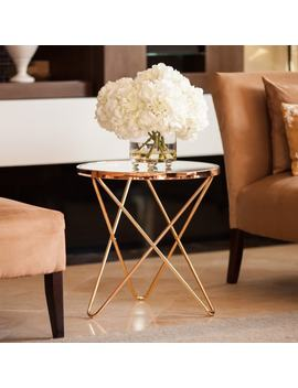 The Gray Barn Brees Rose Gold And Glass Top End Table by The Gray Barn