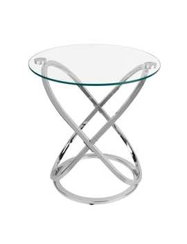 The Gray Barn Brees Galaxy Chrome And Tempered Glass End Table by The Gray Barn