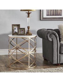 Paisley Round Gold End Table With Marble Top By I Nspire Q Bold by I Nspire Q