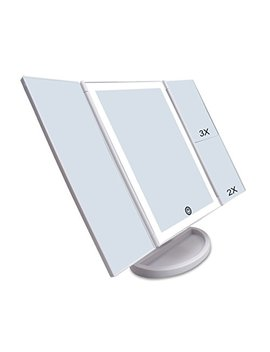Czw Lighted Makeup Mirror With Touch Control And 3 X/2 X/1 X Magnification, Usb Charging Two Power Supply Tabletop Tri Fold Led Mirror, 180 Degree Free Rotation Makeup Mirror (White) by Czw
