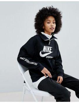 Nike Archive Half Zip Pullover In Black by Nike