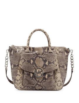 Fulton Large Snake Print Tote Bag, Dark Sand by Michael By Michael Kors