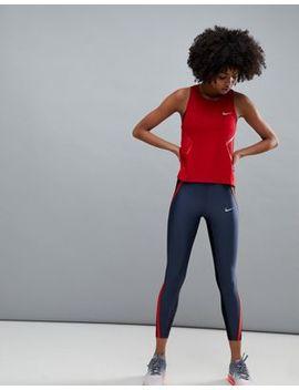 Nike Running Power Speed Crop Leggings In Navy Colourblock by Nike