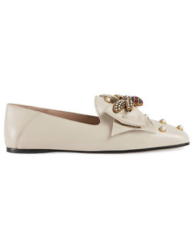 Leather Ballet Flat With Bow by Gucci