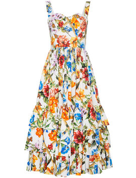 Floral Cotton Dress With Ruffles by Dolce & Gabbana