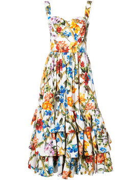 Bustier Printed Midi Dress by Dolce & Gabbana