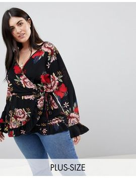 Boohoo Plus Floral Wrap Top by Boohoo