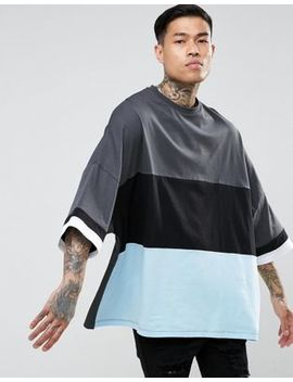 Asos Extreme Oversized Longline T Shirt In Colour Block by Asos