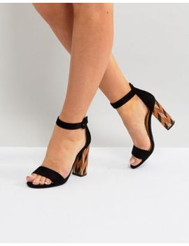 Glamorous Block Heeled Sandal With Patterned Block In Black by Glamorous