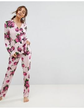 Asos Romantic Rose Traditional Shirt & Pant Pajama Set by Asos Collection