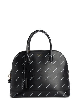 Medium Allover Logo Leather Satchel With Water Repellent Coat by Balenciaga