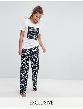 Boohoo Animal Print Slogan Pajamas by Boohoo