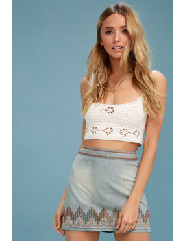 L' Horizon Light Blue Chambray Embroidered Mini Skirt by Lulu's