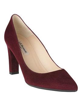 L.K. Bennett Tess Block Heeled Court Shoes, Oxblood Suede by L.K.Bennett