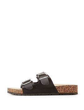 Bamboo Two Buckle Band Slide Sandals by Charlotte Russe