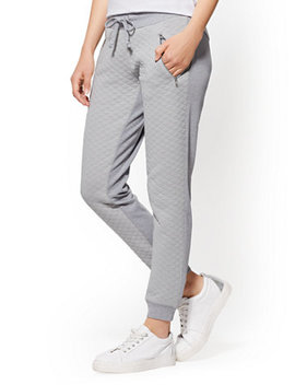 Soho Street   Quilted Slim Jogger Pant   Grey by New York & Company