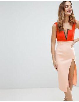 Asos Color Block Gold V Bone Thigh High Midi Dress by Asos Collection