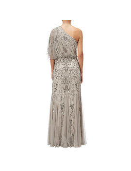 Adrianna Papell One Shoulder Blouson Bead Gown, Platinum by Adrianna Papell